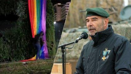 Militantes de Gómez Centurión rompieron la bandera del orgullo en el Obelisco