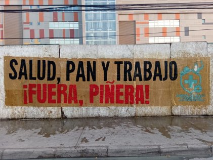 Manifestación: PAN, SALUD Y TRABAJO a las afueras del Hospital Barros Luco
